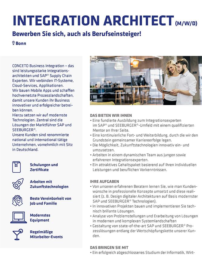 CONCETO Karriere Stellenbeschreibung Integration Architect 2020